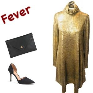 NWT Shimmering Gold Dress by Fever Sz. Small